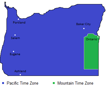 Time Zone And Current Time Of Oregon Counties Cities